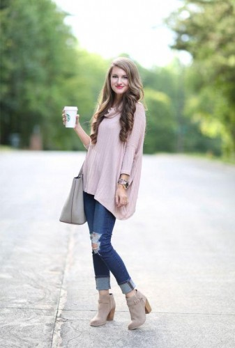 pale pink sweater with ankle boots