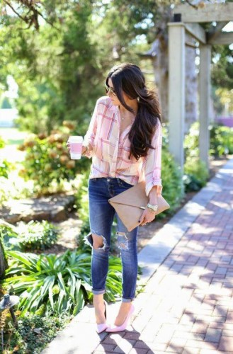 pink checked shirt with denim