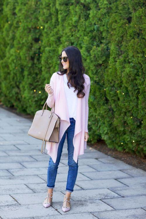 pink fall cardigan with denim