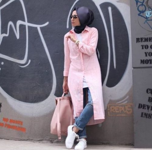 pink shirt dress hijab outfit