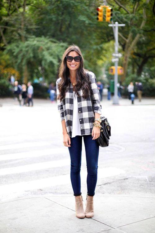 plaid flannel fall outfit