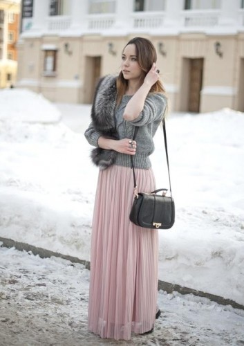pleated pastel maxi skirt with sweater