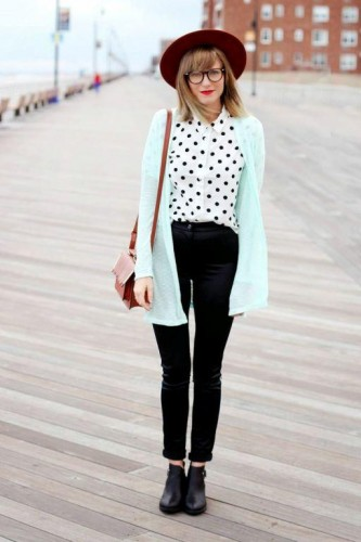 polka dots blouse with ankle boots