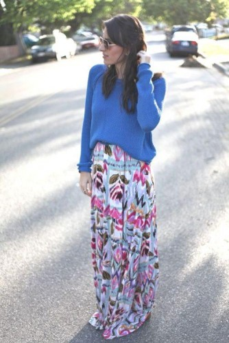 printed maxi skirt with blue sweater