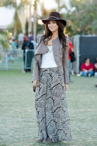 printed maxi skirt with jacket