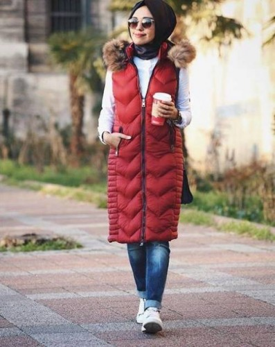 puffer vest winter hijab