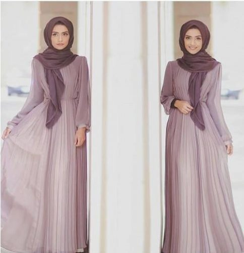 purple hijab maxi dress