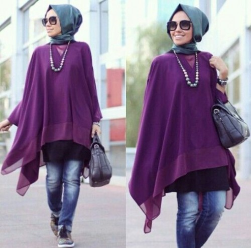 purple tunic hijab look