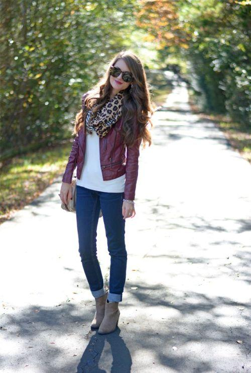 red jacket with denim fall outfit