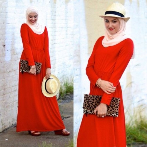 red maxi dress hijab look