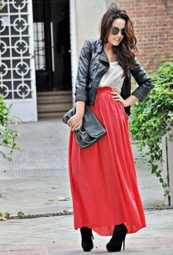 red maxi skirt with black jacket and bootie
