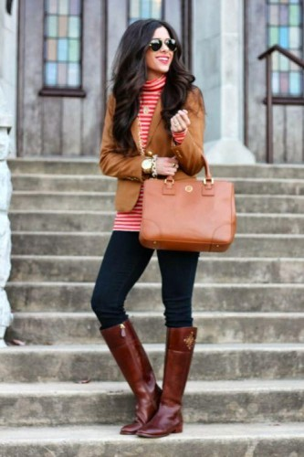 red striped top with tan jacket