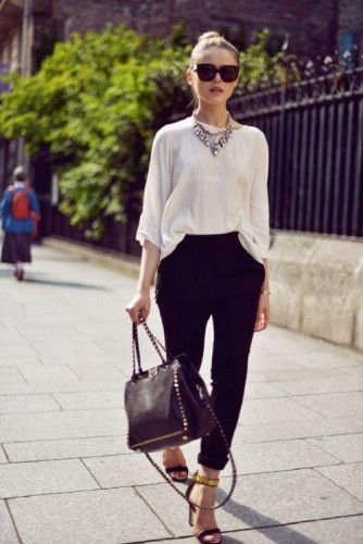 silk blouse with black pants outfit