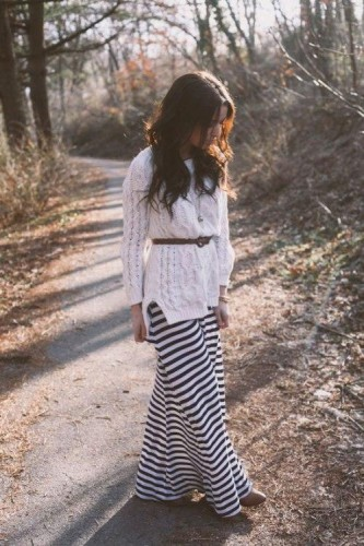 striped maxi skirt with white sweater