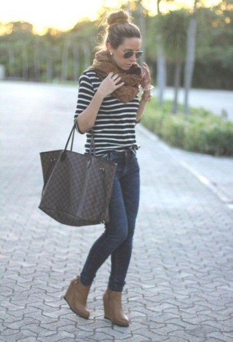 striped tee with ankle boots