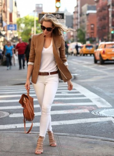 tan blazer with white pants