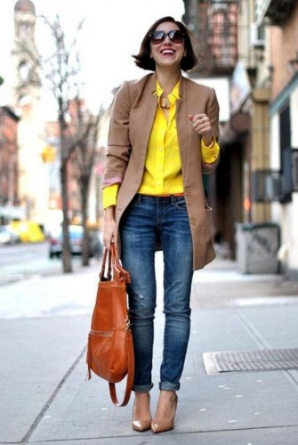 tan blazer with yellow shirt
