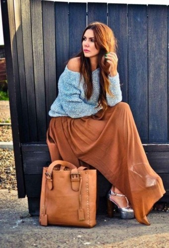 tan chiffon maxi skirt with sweater