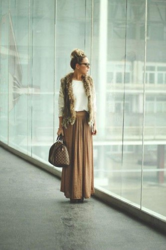 tan maxi skirt with fur vest