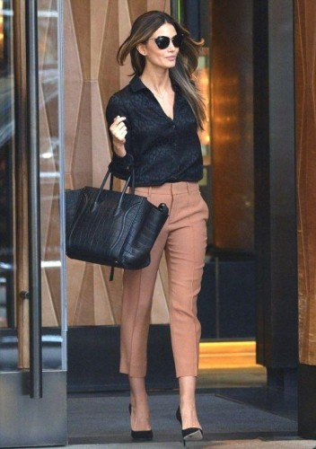 tan trouser with black blouse outfit