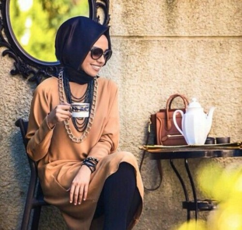 tan tunic hijab blouse
