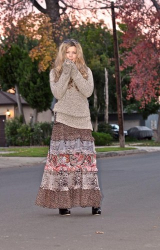 tribal maxi skirt with sweater