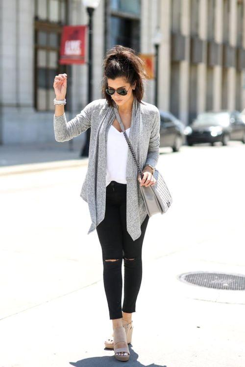 water fall gray cardigan outfit