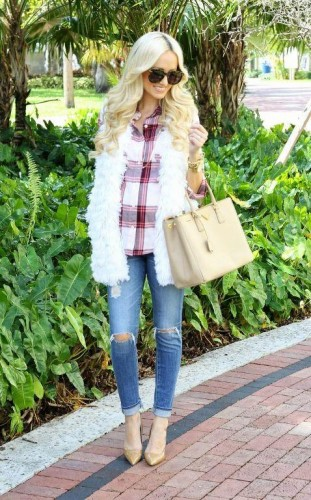 white fur vest with jeans