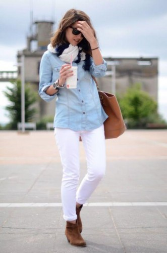 white jeans with tan ankle boot