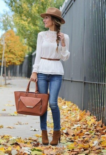 white lace blouse with denim