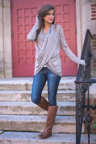 wrap sweater with jeans