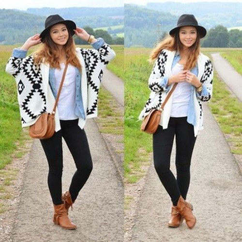 Aztec white with black cardigan