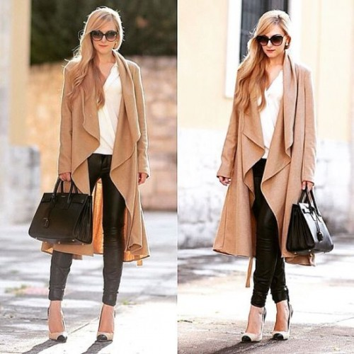 beige long cardigan look