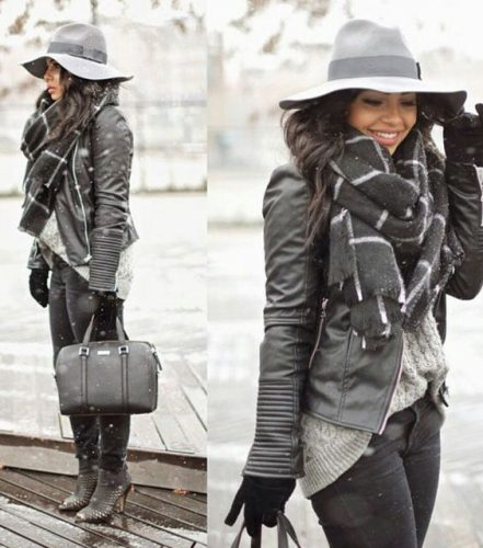 black leather jacket with knit scarf