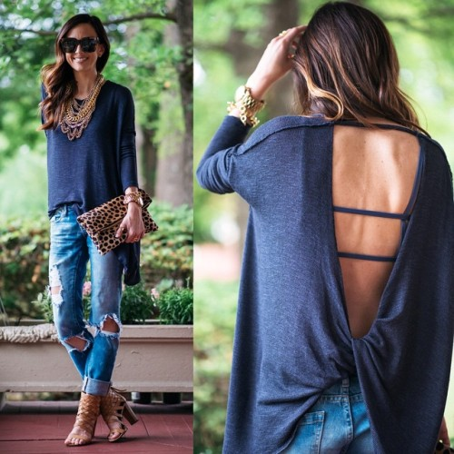blue backless blouse