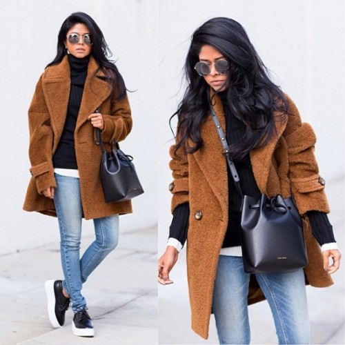 cognac winter coat outfit