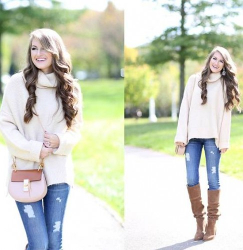 creamy sweater outfit