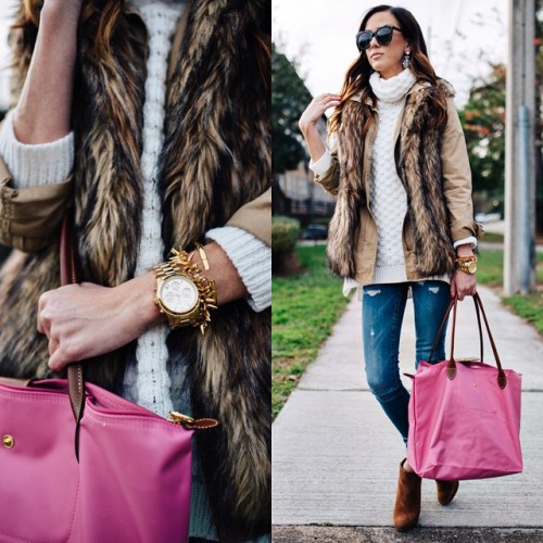 fur vest over jacket