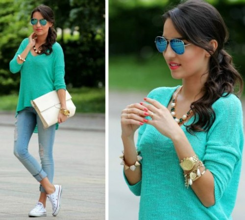 greeen sweater with jeans