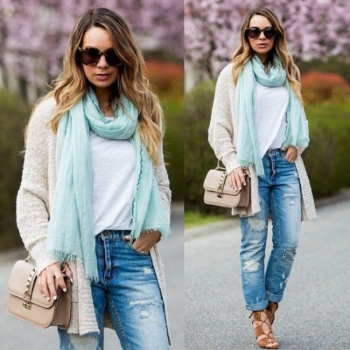 knit creamy cardigan with blue scarf