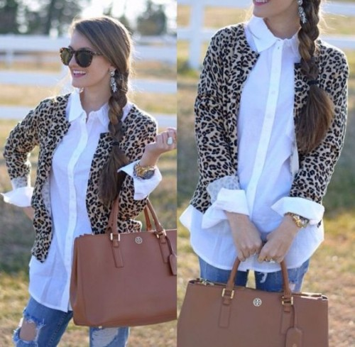 leopard cardigan with white shirt