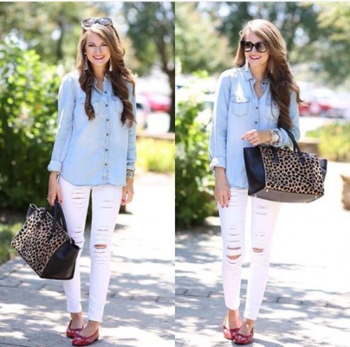 light denim shirt with white jeans
