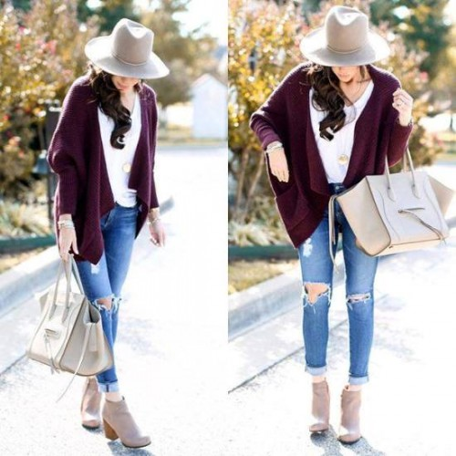 maroon cardigan with jeans