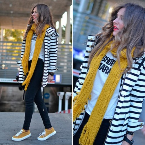 mustard scarf with stripped blazer