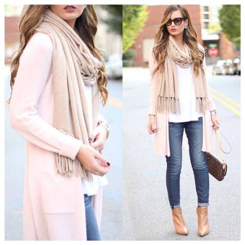 pink long cardigan with beige scarf