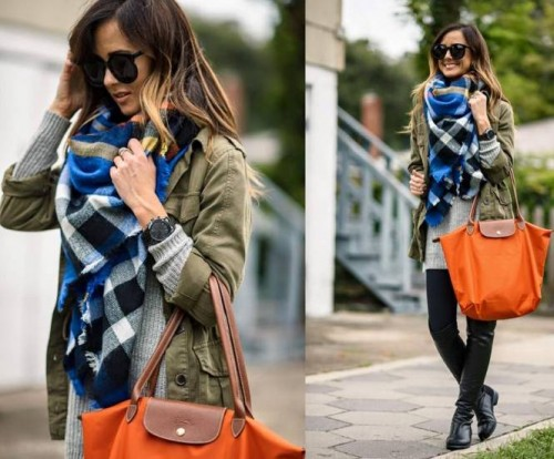 plaid scarf outfit with pop color bag