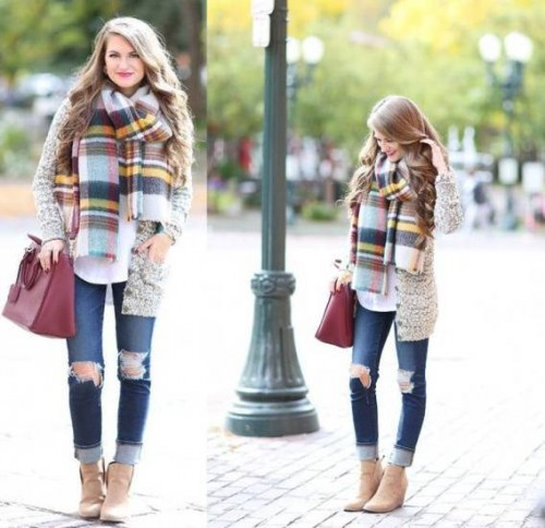 plaid scarf with knit cardigan