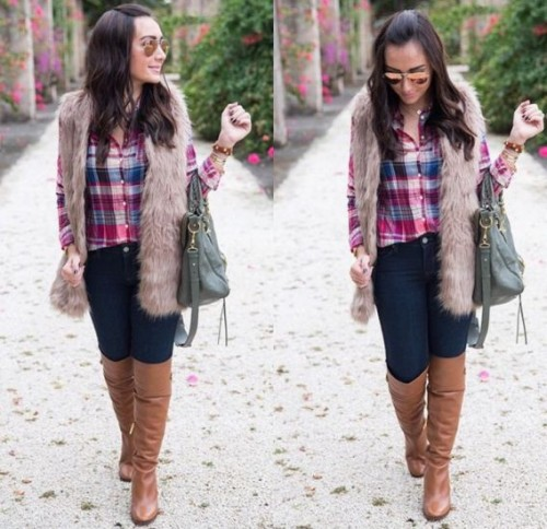 plaid shirt with fur vest
