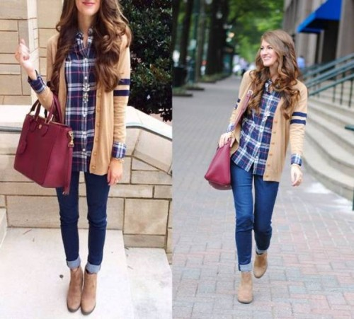 plaid shirt with tan cardigan