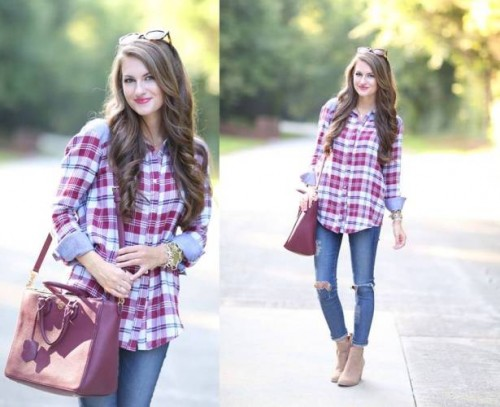 plaid shirt with wine bag and boot
